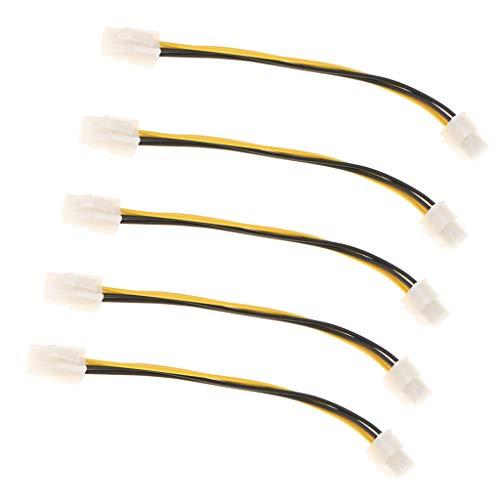 MagiDeal Cable de Extensión del Ventilador de La Fuente de Alimentación de La Placa Base de 5 Piezas 4 Pines Cable Convertidor de Energía