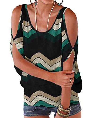 YOINS Blusa de mujer de manga corta sin hombros parte superior para mujer Off Shoulder Top Verano Carmen Camiseta Floral