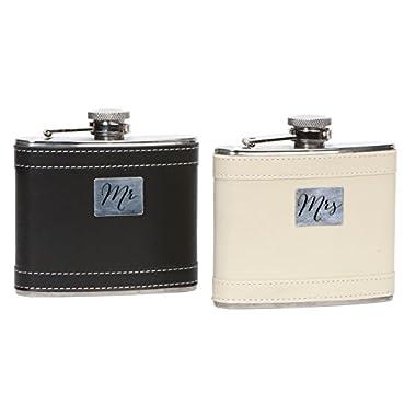 C.R. Gibson Stainless Steel & Leatherette Mr. & Mrs. Wedding Flasks for Bride & Groom