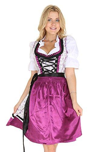 Bavarian Clothes Dirndl Damen Midi Trachtenkleid 5015 mit Dirndlbluse und Schürze Kleid 3 teilig Größe: 36, Lila Violett Weiss