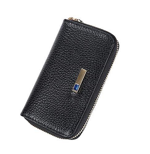 YNSH Smart Anti-Lost Key Case Llavero de cuero genuino con cremallera para coche con alarma, Bluetooth, Registro de posición-black