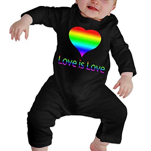 l'amour est l'amour LGBT Nouveau-né Gilr's garçon bébé Barboteuse bébé Manches Longues Infantile Toddler Shirts(6M,Noir)