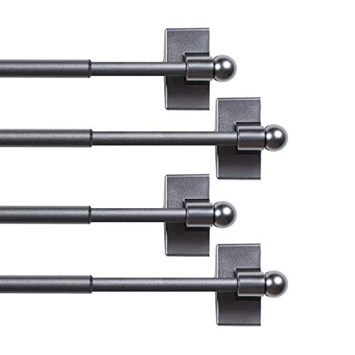 """H.VERSAILTEX 4 Pack Magnetic Curtain Rods for Metal Doors Multi-Use Adjustable Rods Tool Free for Iron and Steel Place 1/2"""" Diameter, with Petite Ball Finials (16""""-28"""", Pewter)"""