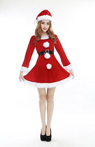 Costume di Natale femminile Charming Red Vestito Vestito Cappello e Cintura Natale Stage Performance Abbigliamento Santa Costumes One Size
