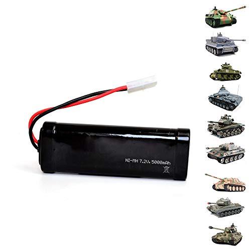 HSP Himoto 7.2V 5000mAh NI-MH Power Akku mit Tamiya-Stecker kompatibel mit RC Panzer u. a. 3818, 3819, 3839, 3848, 3888, Boote,Autos,Fahrzeuge u. a. Modelle, Ersatzakku