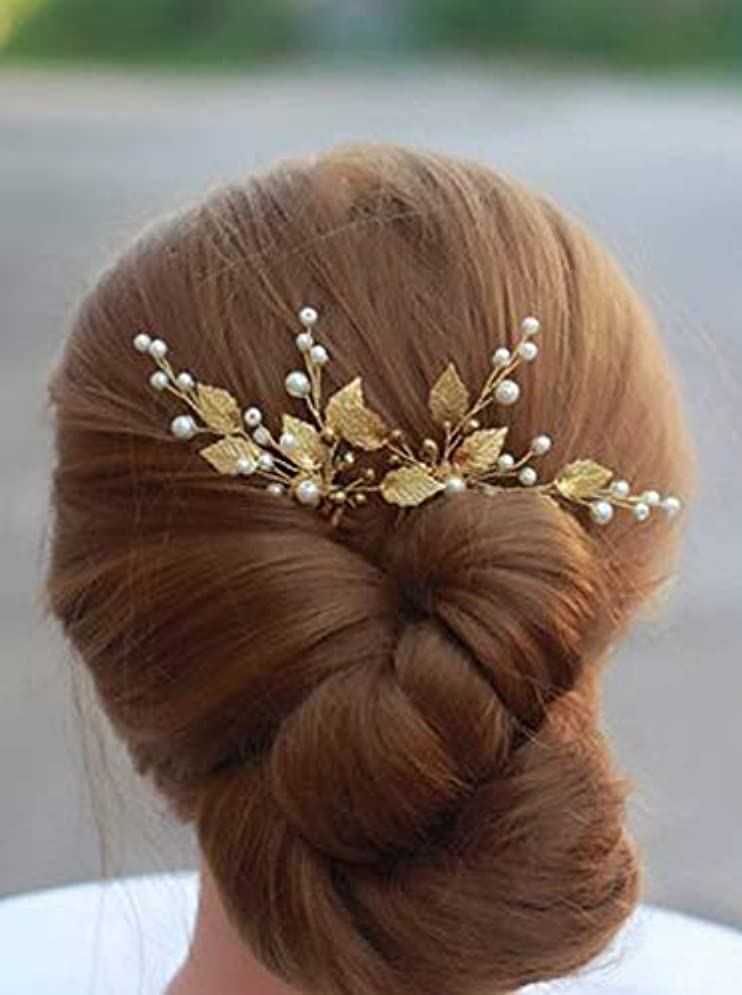 届ける大きい陰謀Deniferymakeup 3 Pcs Gold Wedding Headpiece Comb Art Deco Hair Accessories Bridal Hair Pin Gold Ivory Bridal Head Piecel Comb Prom Leaf Bridal Head Piece [並行輸入品]