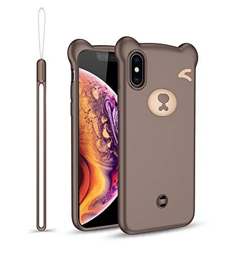 HüllerBay iPhone 11 Pro Hülle, 5.8 Zoll, 3D Bär Cartoon Kawaii Smooth Touch Silikon Flexible Handyhülle mit Abnehmbarer Handschlaufe, Braun