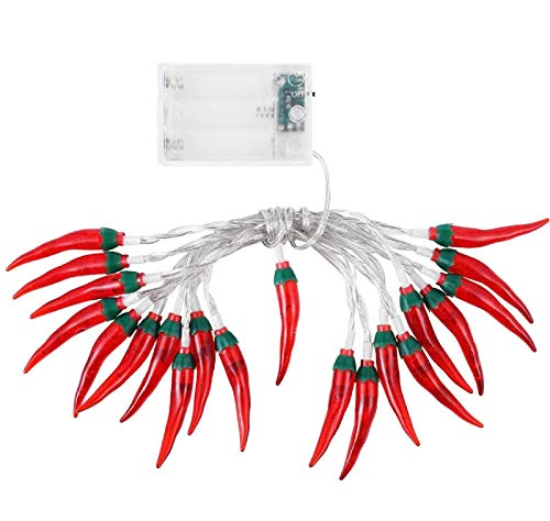 ZSML Red Chilli String Lights LED Rope Fairy Light Pepper Lamp Battery Powered Warm White for Christmas Holiday Party Decoration (Red Chili, 10M/80LED)