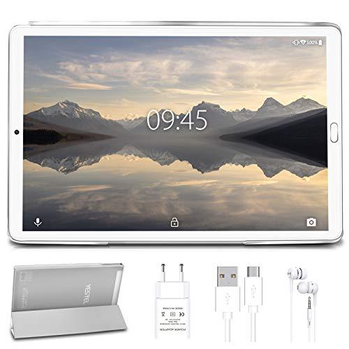 Tablet 10 pollici YESTEL Tablet Android 10.0 con 4 GB di RAM + 64 GB di ROM - WiFi | Bluetooth | GPS, 8000mAH con Cover-(Nessuna tastiera o mouse) Argento