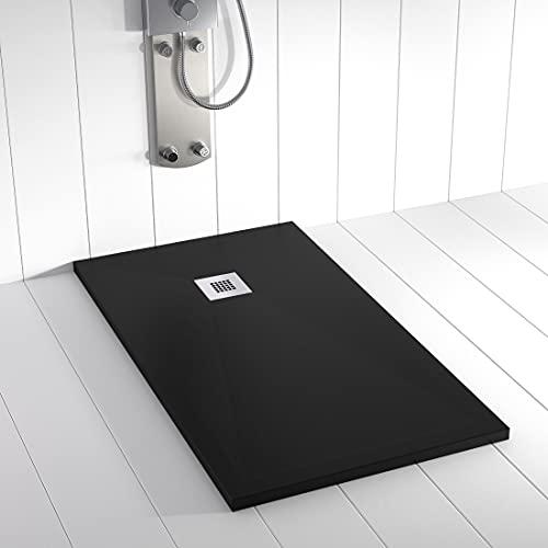 Shower Online Plato de ducha Resina PLES - 70x80 - Textura Pizarra - Antideslizante - Todas las medidas disponibles - Incluye Rejilla Inox y Sifón - Negro 9005
