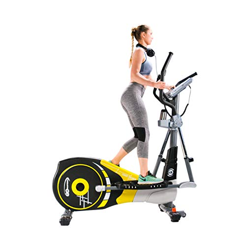 V-600X Extra Length Motorized Stride 18' Programmable Elliptical Cross Trainer - Cardio Fitness Strength Conditioning Workout with Wireless HRC Receiver for home exercise (V-600X, Yellow/Black)