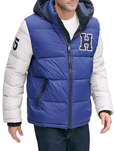 Tommy Hilfiger Men's Classic Hooded Puffer Jacket (Regular and Big & Tall Sizes), Royal, Large