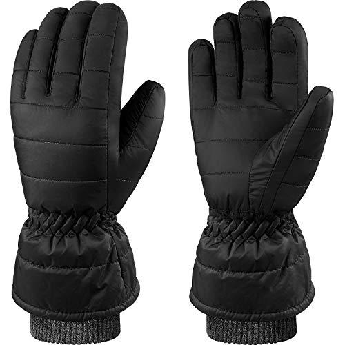Andake Winter Gloves, Warm Waterproof Coupe-vent Respirant Anti-rides Thermique 90% duvet de canard Loisirs Homme Gants pour Ski, Snowboard, Sports de plein air en hiver (Noir, L)