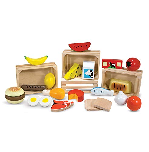 Melissa & Doug Food Groups - Pretend Play, 21 Hand-Painted Wooden Pieces and 4 Crates