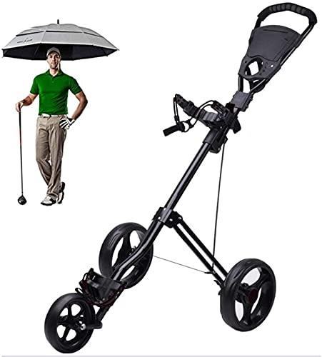 TUHFG Carrito de golf plegable giratorio de 360 ° con mango ajustable, carrito de golf de freno de pie para llevar