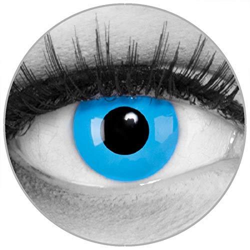 Funnylens Farbige blaue Kontaktlinsen Sky Blue - weich ohne Stärke 2er Pack + gratis Behälter – 12 Monatslinsen - perfekt zu Halloween Karneval Fasching oder Fasnacht