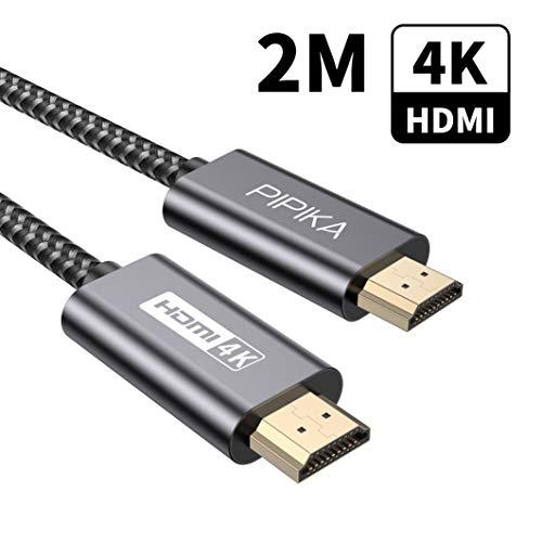 4K HDMI Kabel 2M, PIPIKA HDMI 2.0 auf HDMI Kabel 4K@60Hz Highspeed 18Gbps Kompatibel für UHD 2160P, HDR, Highspeed Highspeed mit Ethernet, ARC, PS3/PS4, Xbox One/360, HDTV und Monitor-Grau