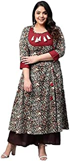 Yash Gallery Women's Plus Size Cotton Kalamkari Print Anarkali Kurta