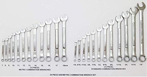 Craftsman 24 Piece Combination Wrench Set - Standard SAE/Metric MM - (Bulk Packaged, Non-Retail Packaging)