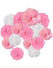 24 pompones de papel de seda rosa blanco flores bolas de papel mezclado tamaños pompón colgante para decoración de fiesta de bodas (30,8 cm, 24 cm)