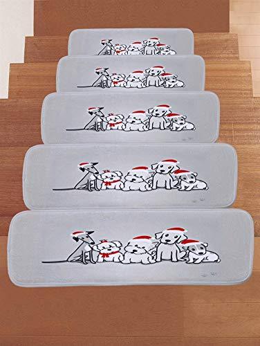 Ommda Stufenmatten Hochflor Innen Rechteckig Set Selbstklebend 15 Stück Hundemuster Treppenstufen Matten Anti Rutsch Waschbar Treppenschutz Style-0467,22x70cm