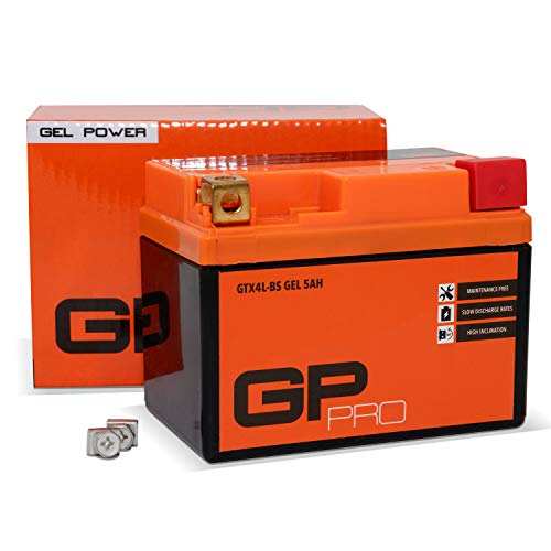 GP-PRO GTX4L-BS 12V 5Ah GEL-Batterie (Ähnlich YTX4L-BS / YTX5L-BS) (Wartungsfrei & Versiegelt) Rollerbatterie Akkumulator Roller