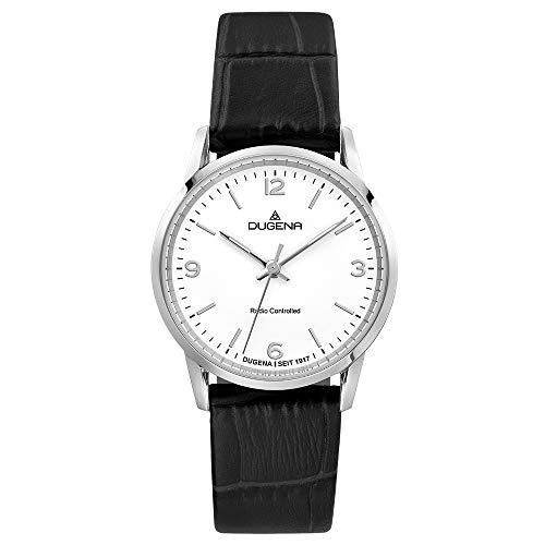 DUGENA Momentum XS Funk-Damen-Armbanduhr, Funkuhrwerk, Edelstahlgehäuse, Saphirglas, Lederarmband, Dornschließe, 5 bar (schwarz)