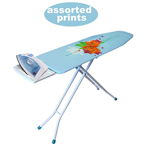 YBM HOME 4-Leg Ironing Board with Steam Iron Rest, Standard Steel Heavy Duty Ironing Board with Cover and Pad, Assorted Prints 1548-26