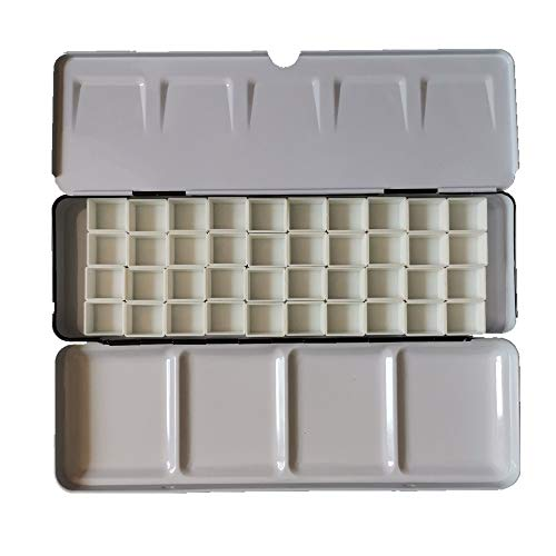 BOOYEE Empty Watercolor Palette Paint Tin Case with Half Pans Carrying Magnetic Stripe (Black with 40pcs Half Pans)