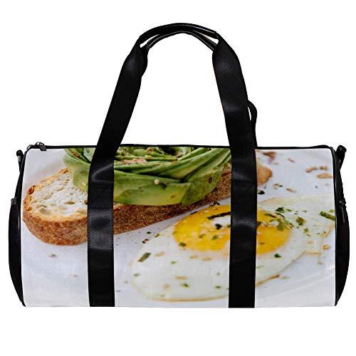 TIZORAX Seesack für Damen und Herren, Ei, Brot, Frühstück, Sport, Fitnessstudio, Tragetasche, Wochenende, Übernachtung, Reisetasche, Outdoor-Gepäck, Handtasche