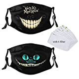Mens Womens Ali-ce in Wond-Erland Face Mask Protective Balaclava Mouth Cover with Filter Dust Adjustable Cheshire Cat 2pcs