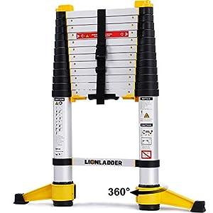 Lionladder EN131-6 3,8m Escalera de Extensión Telescópica Pro, Retracción con un Botón, Aluminio, 150kg