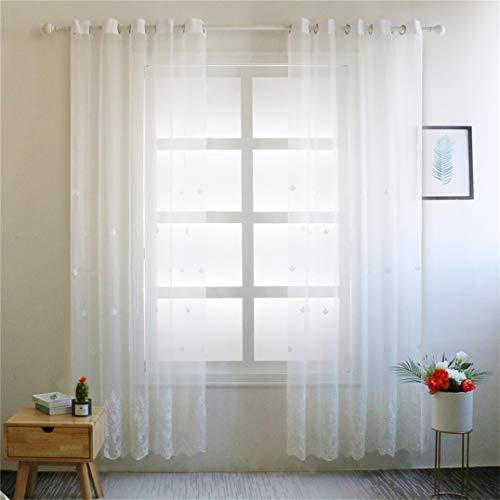 Weryffe - Cortinas de goma para ventana con bordado transparente, 250 cm x 100 cm