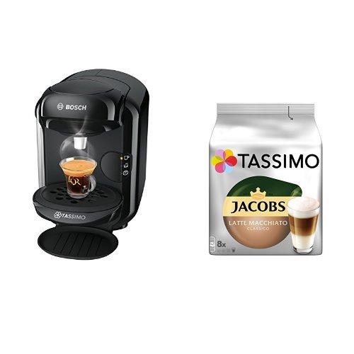 Bosch Tassimo TAS1402 Kapselmaschine + Tassimo Jacobs Latte Macchiato Classico, 5er Pack Kaffeespezialität T Discs (5 x 8 Getränke)