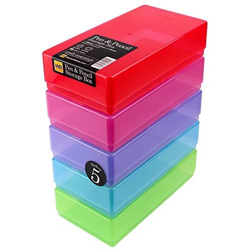 WestonBoxes - Cajas de plástico para bolígrafos, lápices y materiales de arte (Colores Mezclados, Paquete de 5)