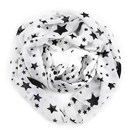 Kinshops necessità Invernale Donna Sciarpa a Stelle Bianche Nere Sciarpa in Chiffon Scialle Grande Morbido Comodo Signora , Bianco