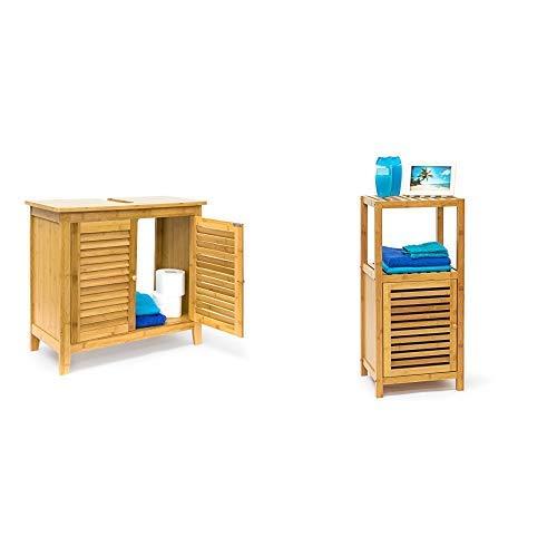 Relaxdays Waschbeckenunterschrank LAMELL aus Bambus & Badregal Bambus mit 3 Ablageflächen