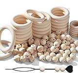 SOSMAR Holz Kugeln und Ringe Set - 75 Stück Macrame Holzperlen, 32 Stück Holzringe Holzkreise für DIY Anhänger Macrame Wandbehang Traumfänger Handwerk, mit Perlen-Einfädler