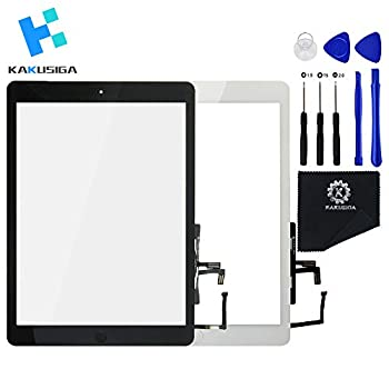 KAKUSIGA Compatible with ipad Air 1st  5th Generation  Touch Screen Glass Digitizer Replacement Home Button Flex Adhesive Tape,Repair Tools kit  Black