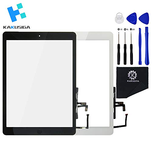 Kakusiga Digitizer Repair Kit for iPad Air 1(ipad 5th generation) 9.7 Inch Touch Screen Front Display Assembly Incl Home Button flex Camera Holder and Pre Installed Adhesives with Tool kit (White)