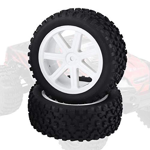 NEUFDAY 4PCS RC Reifen- und Gummiradsatz, 1/10 RC Truck Gummireifenradreifen für ZD Racing Buggy Crawler Car White