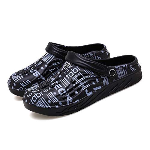 LIBINXIF Zoccoli da giardino, scarpe da spiaggia, pantofole da giardinaggio scarpe da viaggio a piedi sandali doccia foro scarpe, Nero