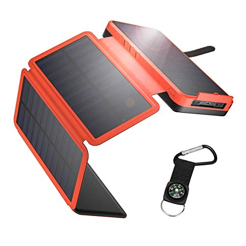 IEsafy 26800mAh Solar Powerbank mit 4 Solarpanel Outdoor Ladegerät Solar ausgestattet Taschenlampe und Kompass geeignet für Samsung, iPad, Huawei, iPhone