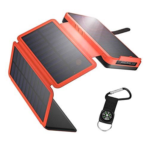 IEsafy Solar Powerbank 26800mAh Solar Ladegerät Outdoor mit 4 Solarpanel Externer Akku Taschenlampe Kompass geeignet für Handy Tablet Smartphone