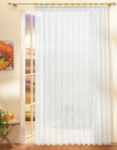 Gardinen Store Voile mit Kräuselband, 245x450, Weiß, 610011