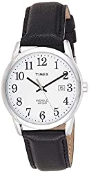 Easy-to-Read White Dial with Full Arabic Numerals Black Genuine Leather Strap Polished Silver-Tone Case Date Window Indiglo Light-Up Watch Dial Water resistant to 99 feet (30 M): withstands rain and splashes of water, but not showering or submersion