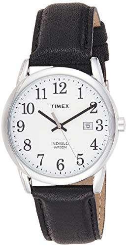 Timex Men's TW2P75600 Easy Reader 38mm Black/Silver-Tone/White Leather Strap Watch