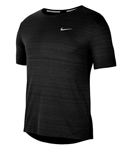 NIKE M NK DF Miler Top SS T-Shirt, Hombre, Black/Reflective Silv, M