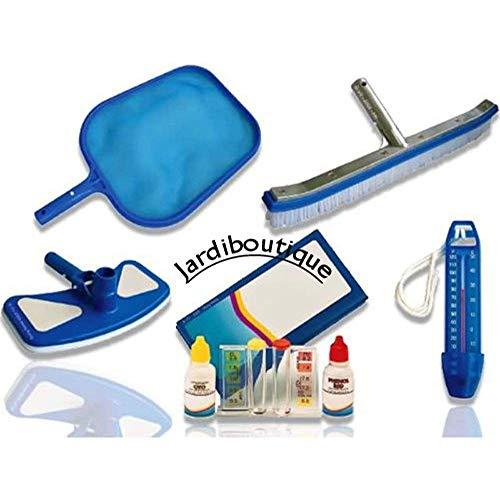 Jardiboutique Pool-Pflegeset – Bürste mit Rahmen aus verstärktem Aluminium und Kescher, Wasseranalyse-Set, Saugbesen, Thermometer