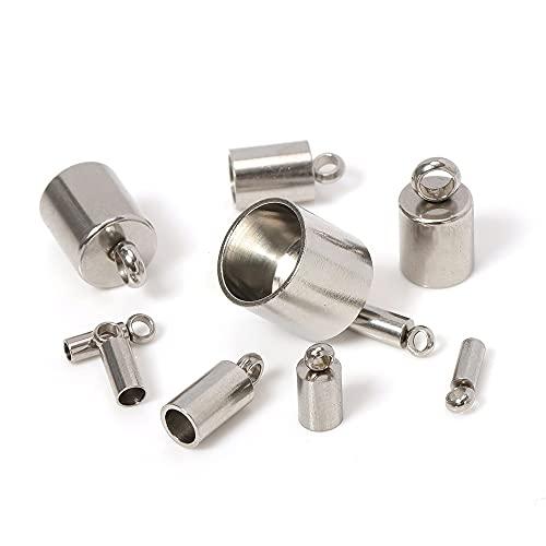 PJ1 10 unids 316L tapas de extremo de acero inoxidable de acero inoxidable Cordillas de cuero Cuerda de cuero Pulsera Pulsera Charms Colgantes para joyería Fabricación DIY Tl705 ( Size : 6mm Hole )